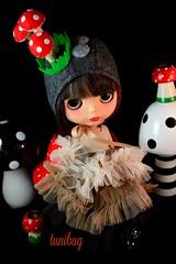 shrooms 2 (tunibug) Tags: mushroom vintage doll helmet frock blythe junebug frilly blablablythe