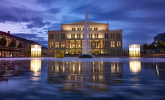 Opera Leipzig, Germany (swissukue) Tags: reflection night germany duck pond opera nightshot sony leipzig a7 oper ilce7