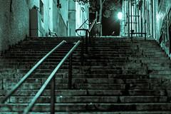 Les escaliers de Lisbonne. (Bouhsina Photography) Tags: portugal monochrome night stairs canon outside lumire lisboa nuit lampadaire verte lisbonne escaliers exterieur bouhsina ef8512ii 5diii bouhsinaphotography