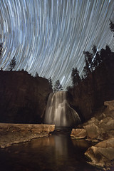 Star Trails Over Waterfall (Jeffrey Sullivan) Tags: california light sky copyright usa reflection jeff nature night canon painting landscape photography eos star photo waterfall october mark iii trails hike 5d sullivan 2011