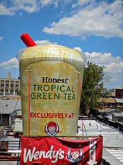 On Cloud Green Tea (Robert S. Photography) Tags: clouds sky ad billboard wendys cup giant greentea subway elevated view building rooftops summer color brooklyn brightonbeach nyc nikon coolpix l340 iso80 june 2016
