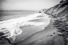 Marshall's Beach (Serendigity) Tags: california usa beach sanfrancisco goldengate mist surf fog coast bridge blackandwhite bw monochrome