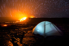 An Epic Campsite (geekyrocketguy) Tags: longexposure camping camp volcano hawaii lava nationalpark tent backpacking backpack f2 bigisland 12 volcanoes 12mm erupt eruption campsite bower startrails mountainhardwear samyang mountainhardware rokinon