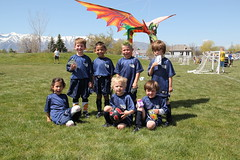 Group picture with the dragon kite 2 (Aggiewelshes) Tags: ben soccer may sean peter olsen cailin grouppicture 2013 dragonkite teamdragons