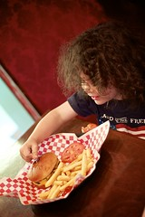 Burger and fries at Muffuletta (vduggal999) Tags: food usa alex lunch restaurant burger indoors cheeseburger fries fl coralsprings muffuletta
