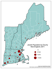 Jewish population by county, New England, 2011 (Blake Gumprecht) Tags: county map maps religion newengland jewish jews judaism population counties 2011