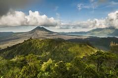 active volcano of Mt. Batur (Zhenya bakanovaAlex Grabchilev) Tags: trip travel blue summer sky bali lake mountains green nature c