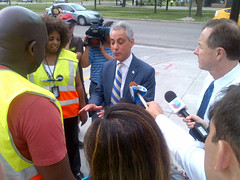 Chicago Mayor Emanuel & CTA President Claypool at Garfield (Red & Green Lines) (cta web) Tags: railroad chicago cta trains transit southside redline chicagotransitauthority rapidtransit danryan ctaredline redsouth redlinesouth