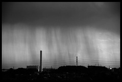 The Rainfall (Masahiko Kuroki (a.k.a miyabean)) Tags: sky bw cloud rain 雲 空 雨