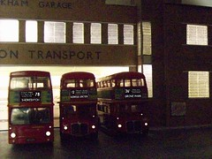 Early morning run out at Peckham bus garage.  version2 (kingsway john) Tags: london transport bus garage peckham photoshop model 176 scale kingsway models card kit routemaster dms rm night dark route blinds lights londontransportmodel diorama oo gauge miniature