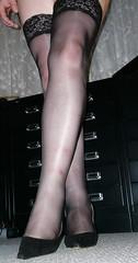 helennorthcoast - Black stay-up stockings 03 (helennorthcoast) Tags: stockings highheels legs cd tights cast bandage crossdresser splint sprain