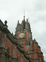 A clock tower, Founder's Building (Dunnock_D) Tags: uk england sky cloud building london tower clock grey university cloudy unitedkingdom britain surrey uni founders egham openday royalholloway inayoutubevideo