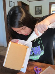 Sophia Decorating a Gingerbread House (Pictures by Ann) Tags: red food brown white holiday green advent candy decoration creative gingerbread decorating gingerbreadhouse decorate sophia frosting countdowntochristmas pinterest