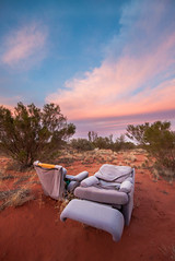 (GarethToms.) Tags: sunset red cloud abandoned chair colours desert no dirt where rubbish scrub