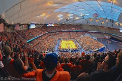 Inside the Carrier Dome (Scottwdw) Tags: city people orange newyork sports basketball nikon university stadium central sigma fisheye arena cny syracuse fans ncaa wildcats villanova carrierdome 150mmf28 onondagacounty d700 scottthomasphotography
