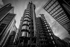 Playground (faranorclarke) Tags: city uk windows sky urban blackandwhite bw reflection building london architecture modern clouds buildings reflections mono design blackwhite office nikon wide perspective thecity sigma wideangle structure architectural 1020mm vignetting 1020 structural lloyds clod lightroom officeblock lloydsbuilding baw willisbuilding d90 vision:outdoor=0847 vision:sky=058