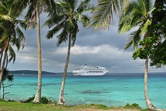 Beauty and the Beast (munzy010) Tags: cruise trees clouds canon palms dawn coast perfect ship colours pacific postcard po lifou canonpowershots5is chdk canons5is