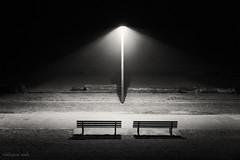 nothingness (bluechameleon) Tags: ocean light blackandwhite bw beach fog vancouver sand empty logs lamppost englishbay nothingness parkbenches emptyspaces bluechameleon artlibre sharonwish bluechameleonphotography