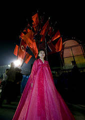 CHANTEUSE D ETAT AU BAL DU 15 AVRIL A PYONGYANG, COREE DU NORD (Eric Lafforgue Photography) Tags: voyage travel color colour cute sexy festival vertical night dance asia dancers dress robe feminine femme nighttime nightlight hanbok asie jolie soiree custom soir 2008 nuit fille couleur northkorea bal ideology axisofevil pyongyang spectacle eastasia dprk danseurs traditionalclothing arirang juche coleur festivites seduisante dictature democraticpeoplesrepublicofkorea koreanpeninsula enhauteur juchesocialistrepublic coreedunord rdpc koreanethnicity insidenorthkorea lumiereartificielle eclairagedenuit joseonot