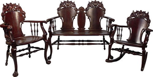 617 3 Piece Parlor Set Of Antique Stickley U0026 Brandt Wood Furniture, Circa  Turn