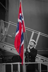 Norwegian sailor on board HNoMS OTRA during Flag hoist (NATO HQ MARCOM) Tags: balticsea nor nato snmcmg1 activityonboard