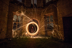 Wire Wool #1 Dunmore House (BusterBB001) Tags: longexposure house night dark fire scotland shadows stirling tunnel dungeon spinning smokey buster euphoria bb cellar falkirk dunmore wirewool davidhannah