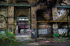 Factory (Chris Cologne Photography) Tags: door old roof industry colors photoshop germany lost deutschland graffiti hall big factory colours place sony fabrik ruin cologne köln ruine adobe elements industrie tür wrecked cameraraw lostplace alpha37