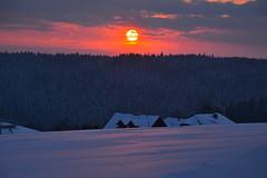 Winter sunset - explored! Thanks!!! (echumachenco) Tags: schnee houses winter sunset sky sun snow clouds forest austria evening abend österreich sonnenuntergang himmel wolken february sonne wald oberösterreich februar häuser upperaustria mühlviertel kirchschlag nikond3100