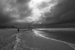 Heimweg (RadarOReilly) Tags: bw beach monochrome strand germany island blackwhite norderney insel sw niedersachsen flut schwarzweis