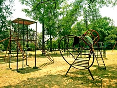 Mexican playground - moon lander. (StartTheDay) Tags: park trees sky tree green grass playground metal children mexico rust mexicocity df play decay rusty climbing weathered apollo sixties decayed claim chapultepec moonlander decayedplayground