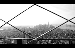 Manhattan Behind Bars (music_man800) Tags: world new york city nyc shadow sky urban usa white holiday abstract black building apple scale monochrome skyline skyscraper canon buildings skyscape observation landscape photography grey mono march spring big bars scenery warm view state manhattan centre united border gray creative shapes scene diamond deck chrome american jungle empire hudson states grayscale trade viewing edit scraper greyscale murk gimp2 700d