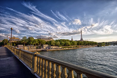 View from the Invalides bridge (marko.erman) Tags: city bridge light sunset sky paris tower seine architecture clouds river cityscape view perspective eiffel invalides
