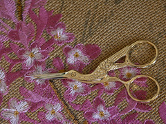 Golden scissors (Zelda Wynn) Tags: embroidery stork golden zeldawynnphotography konicaminoltadimagea2 flowers scissors macro cushion