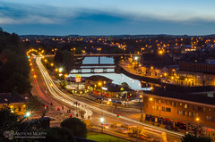 Drogheda at night - long exposure (mythicalireland) Tags: city longexposure sky cars water skyline architecture river landscape evening town waterfront view outdoor dusk bridges headlights mcdonalds timeexposure vehicles valley drogheda boyne dualcarriageway