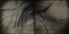 Corvus (noisician)-5003 (Poetic Medium) Tags: portrait stilllife male diptych ipod hand palmreading bomisprendin snapseed mextures kitcamghostbird