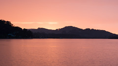 Rainy morning sunrise (Merrillie) Tags: morning pink sea mountain seascape nature water sunrise landscape outdoors photography dawn bay nikon scenery australia hills nsw newsouthwales centralcoast daybreak waterscape brisbanewater woywoy d5500 nswcentralcoast centralcoastnsw