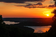 Sunset (jhoff1257) Tags: sunset sun lake water colors beautiful clouds sailboat landscape outside coast boat reservoir missouri orangesky setting branson ozark tablerock tablerocklake colorfulsky bodyofwater missourisunset missourilake visitmo