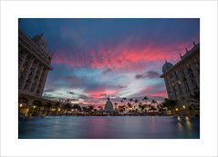 Sunset over the Riu   (Explore 20/06/16 #417) (andyrousephotography) Tags: longexposure trees sunset sun beach pool clouds swimming canon hotel coast warm glow infinity venezuela windy palm aruba 5d oranges reds palmbeach 1740mm riupalace mkiii dutchcaribbean