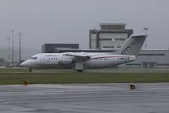 EI-RJO wet. (aitch tee) Tags: wet weather aircraft spray landing airliner rj85 walesuk cardiffairport eirjo maesawyrcaerdydd cwlegff