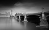 Westminster Bridge II (Richard Reader (luciferscage)) Tags: city longexposure bridge blackandwhite london water monochrome westminster thames river outdoors bigben workshop bnw vulturelabs fujixt1 fuijifilmxt1