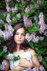 (Rebecca812) Tags: portrait green nature floral girl beautiful childhood canon spring eyecontact child purple lavender hazeleyes naturalbeauty connection lilacs springtime confidence brownhair beautyinnature canon5dmarkii rebecca812