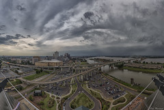 Storms over Memphis... (Ken Thomann Photography) Tags: road park wood railroad bridge trees panorama storm texture nature water glass beautiful grass rain weather skyline clouds skyscraper canon buildings hospital reflections river fun concrete photography hotel pier fishing rust rocks iron traffic unitedstates pyramid outdoor path tennessee steel pano gorgeous parking may peaceful bank wideangle oldbuildings panoramic explore mississippiriver barbeque railroadbridge velocity tranquil bnsf oldwood desoto gravel waterway hernando galley reallyrightstuff deepsouth crazyweather memphistn hernandodesoto canon6d canon1635mmf28lii i40bridge outinnature