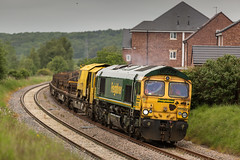 Scruffy end first! Freightliner class 66/6 no 66622 passes the site of the old Ollerton Pit on the Network Rail Test Track on 02-06-2016 having collected the previous days failed rail train. (kevaruka) Tags: uk greatbritain england color colour green colors june yellow train canon spring flickr colours unitedkingdom shed rail railway trains junction telephoto gb 5d locomotive frontpage britishrail nottinghamshire ollerton testtrack engineers clipstone 2016 freightliner class66 networkrail 66622 canon5dmk3 5dmk3 5d3 kevinfrost 5diii canon70200f28ismk2 canoneos5dmk3 telephototrains edlcr