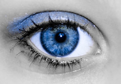 Week 25: Blue (P r e v) Tags: blue shadow white black eye project nikon lashes stare week pupil 52 55200mm d7000