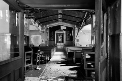 procession. (jonathancastellino) Tags: leica shadow usa abandoned church architecture mi cross time decay michigan ngc detroit entrance aisle procession pew derelict