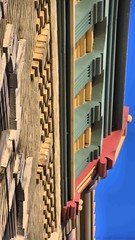 Looking up Architectural Details Waukesha Wisconsin by sheldn (2sheldn) Tags: city blue red sky building brick green up wisconsin canon looking outdoor details cream architectural waukesha hdr t5i sheldn