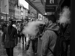 A Full Head Of Steam (Leanne Boulton) Tags: life street city uk light shadow people urban blackandwhite bw cloud white man black detail male texture monochrome face canon mono scotland living blackwhite natural humanity bokeh outdoor expression glasgow cigarette candid smoke culture streetphotography streetlife scene smoking depthoffield human shade 7d smoker electronic society tone facial vapour vape candidstreetphotography ecigarette vaping