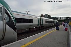 22007 and 22003 at Portarlington, 27/6/16 (hurricanemk1c) Tags: irish train rail railway trains railways irishrail rok rotem portarlington 2016 22003 icr iarnrd 22000 22007 ireann iarnrdireann 3pce 1930portlaoiseheuston