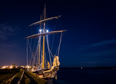alone under stars (JimfromCanada) Tags: sky beautiful night port star evening dock alone sailing ship quiet peace watch peaceful midnight sail serene tallship docked brigantine sl2 stlawrenceii slii