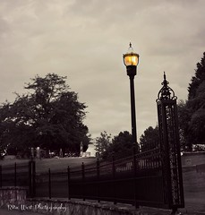Ominous.. Leave the light on (Explore Girl2016) Tags: light blackandwhite graveyard death ominous eerie spooky lamppost canonmarklll